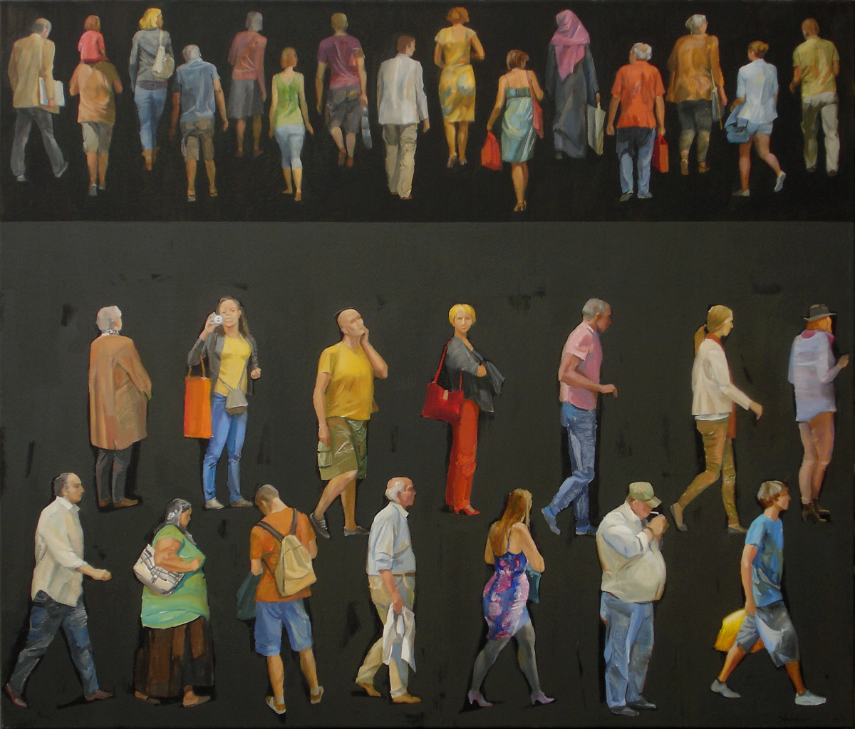 Begegnungen III.   2016  120x140cm,  Acryl, Leinwand