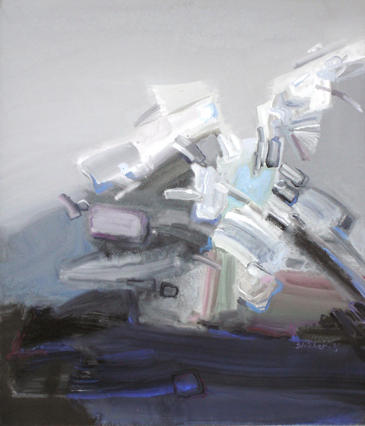 FANTASIE IM GRAU.   65x75 cm, Gouashe, Papier